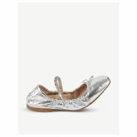 Logo-detail metallic leather ballerinas