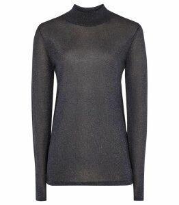 Reiss Ellie - Metallic Rollneck in Navy, Womens, Size XXL