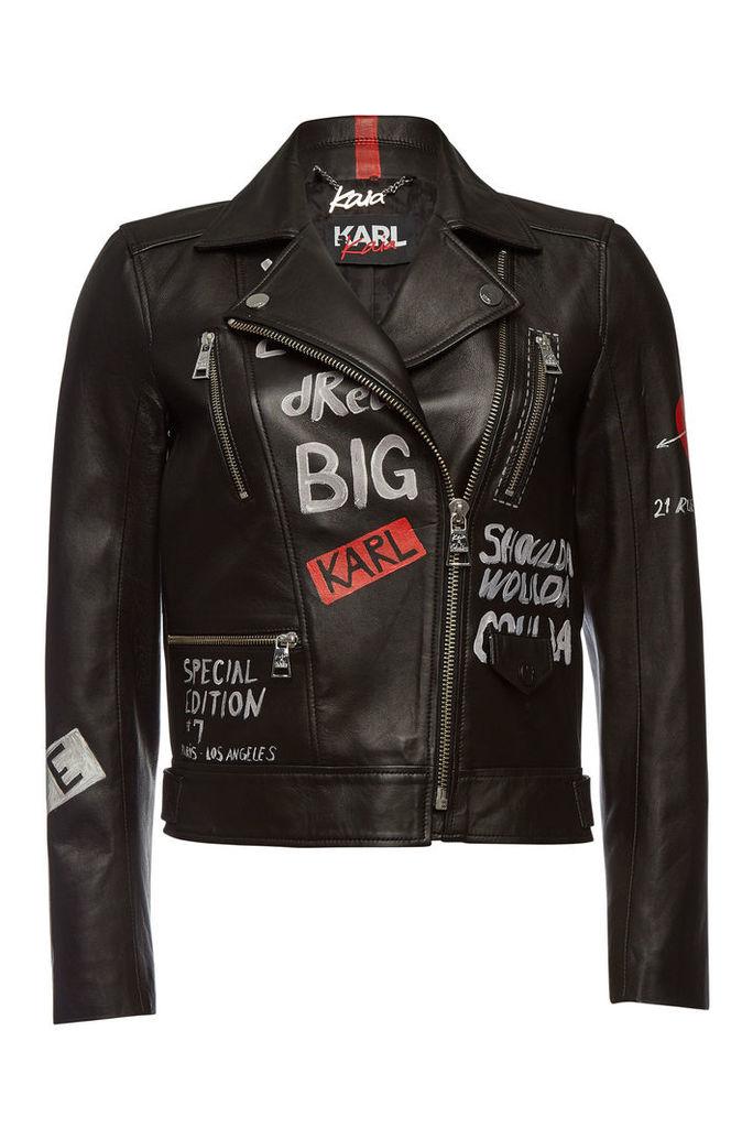 Karl X Kaia Gerber Karl x Kaia Gerber Printed Leather Jacket