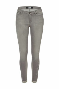 Karl Lagerfeld Embroidered Skinny Jeans with Fringed Hem