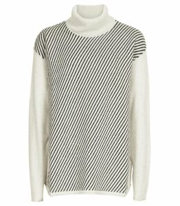 Reiss Bridget - Striped Rollneck Jumper in Grey, Womens, Size XXL