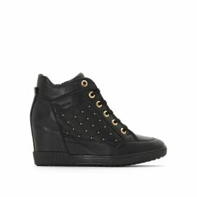 D Carum Leather Wedge Heel Ankle Boots with Lace-Up Fastening