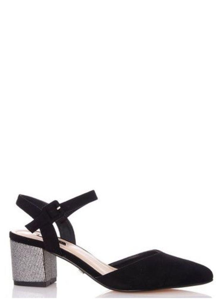 Womens *Quiz Black Faux Suede Glitter Heel Court Shoes- Black, Black