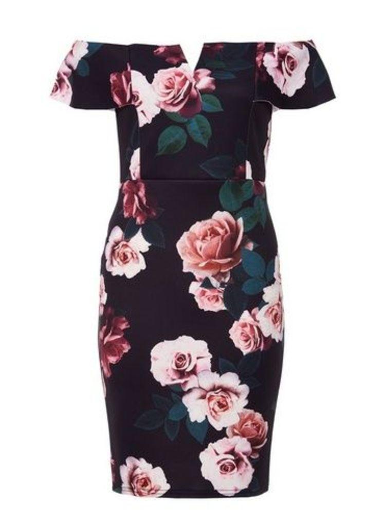 Womens *Quiz Black Floral Mini Bodycon Dress- Black, Black