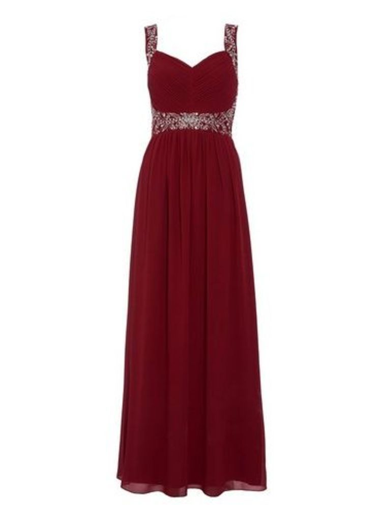 Womens *Quiz Raspberry Red Embroidered Dress- Red, Red