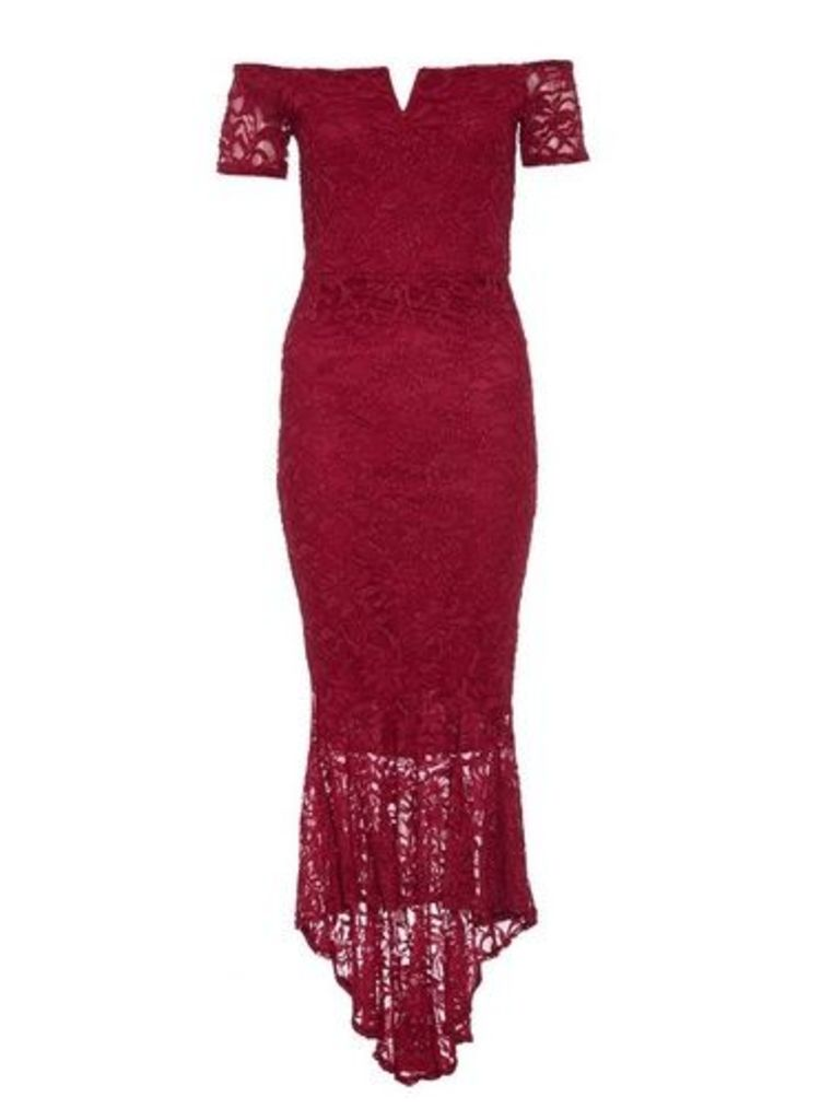 Womens *Quiz Berry Lace Dip Hem Maxi Dress- Red, Red