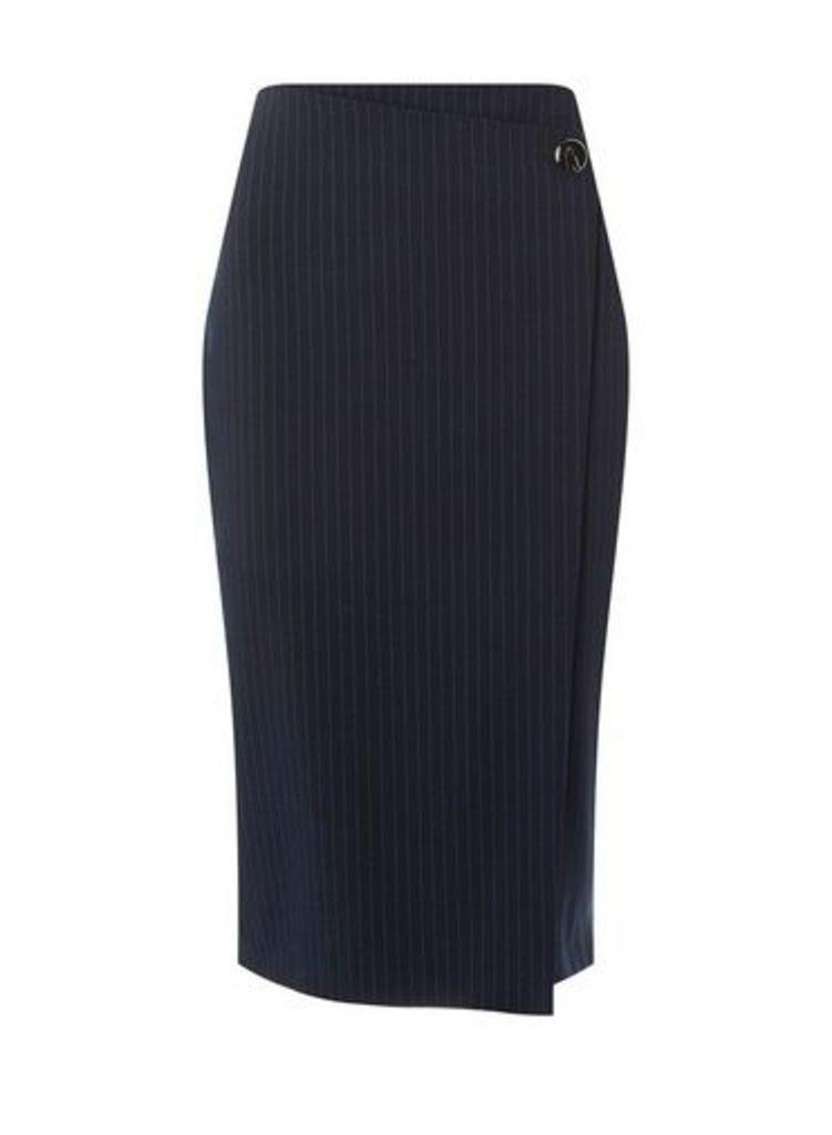 Womens Navy Pinstriped Pencil Skirt- Blue, Blue