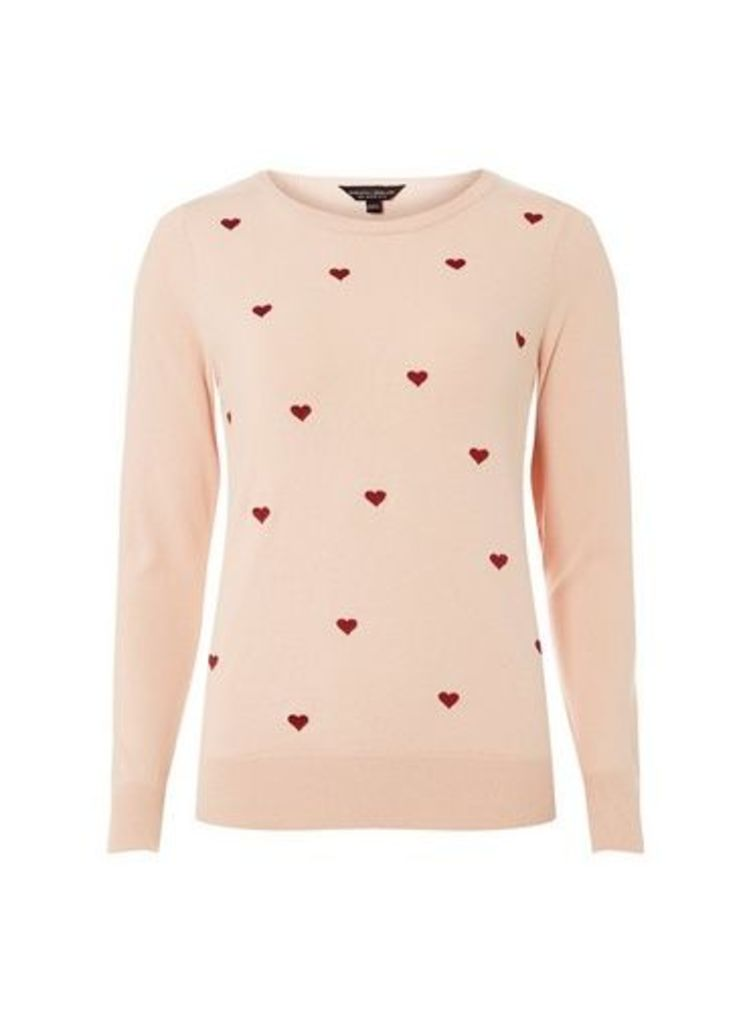 Womens Blush Embroidered Heart Jumper- Pink, Pink