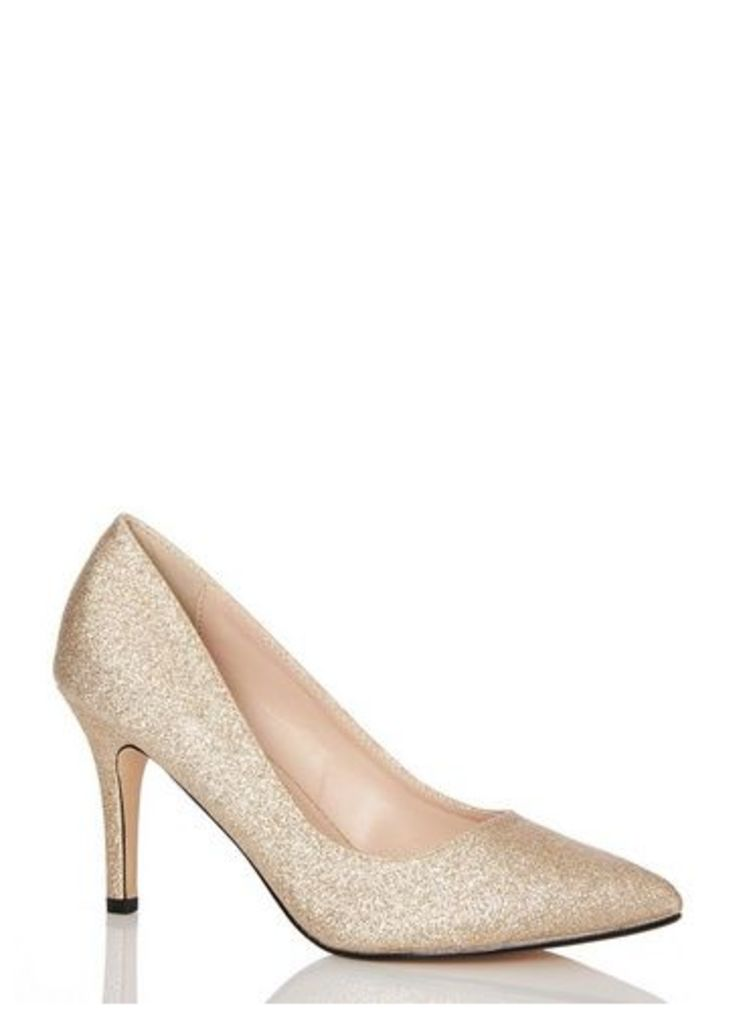 Womens *Quiz Glitter Pointed Toe High Heels Court Shoes- Gold, Gold