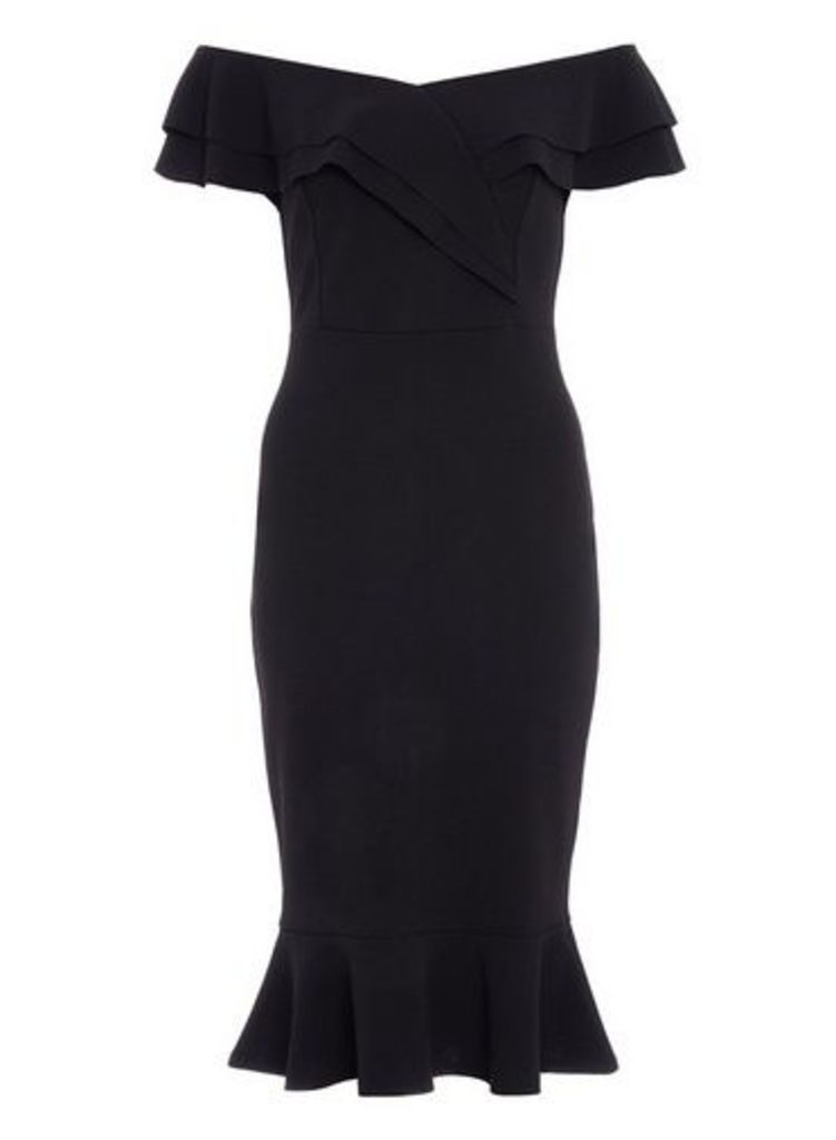 Womens *Quiz Black Bardot Flare Bodycon Dress- Black, Black