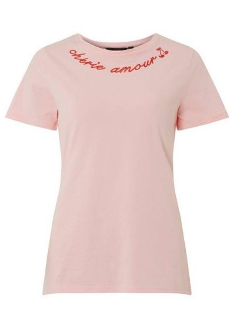 Womens Pink 'Cherie Amour' Motif T-Shirt- Pink, Pink