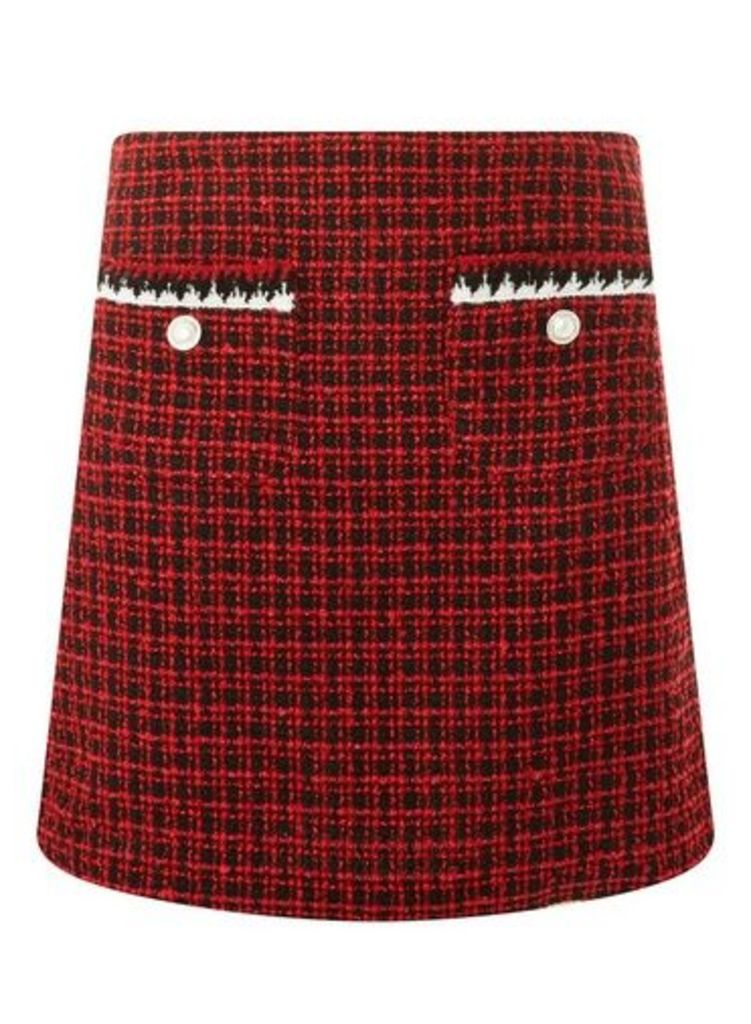 Womens Red Boucle Pocket Trim Mini Skirt- Red, Red