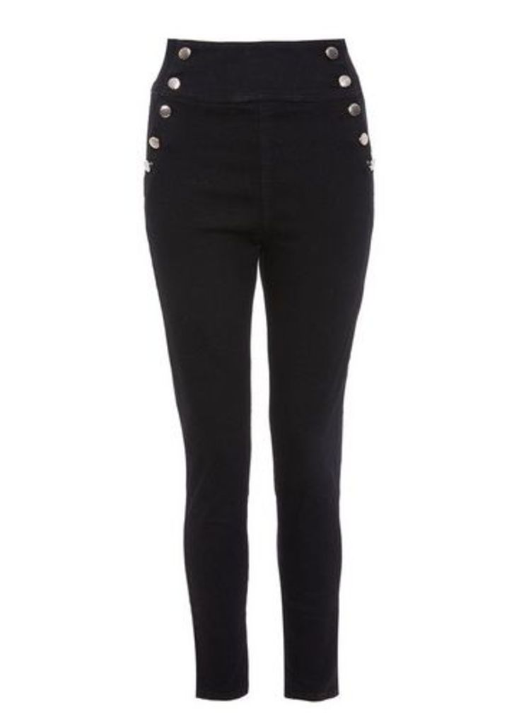 Womens *Quiz Black Gold Button Skinny Jeans- Black, Black