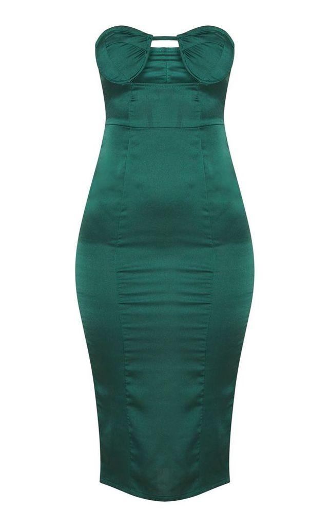Emerald Green Satin Cup Detail Midi Dress, Emerald Green