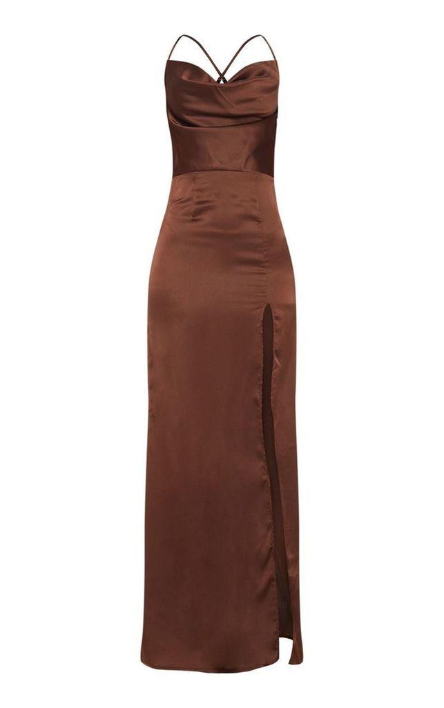 Chocolate Brown Cowl Neck Split Detail Maxi Dress, Chocolate Brown