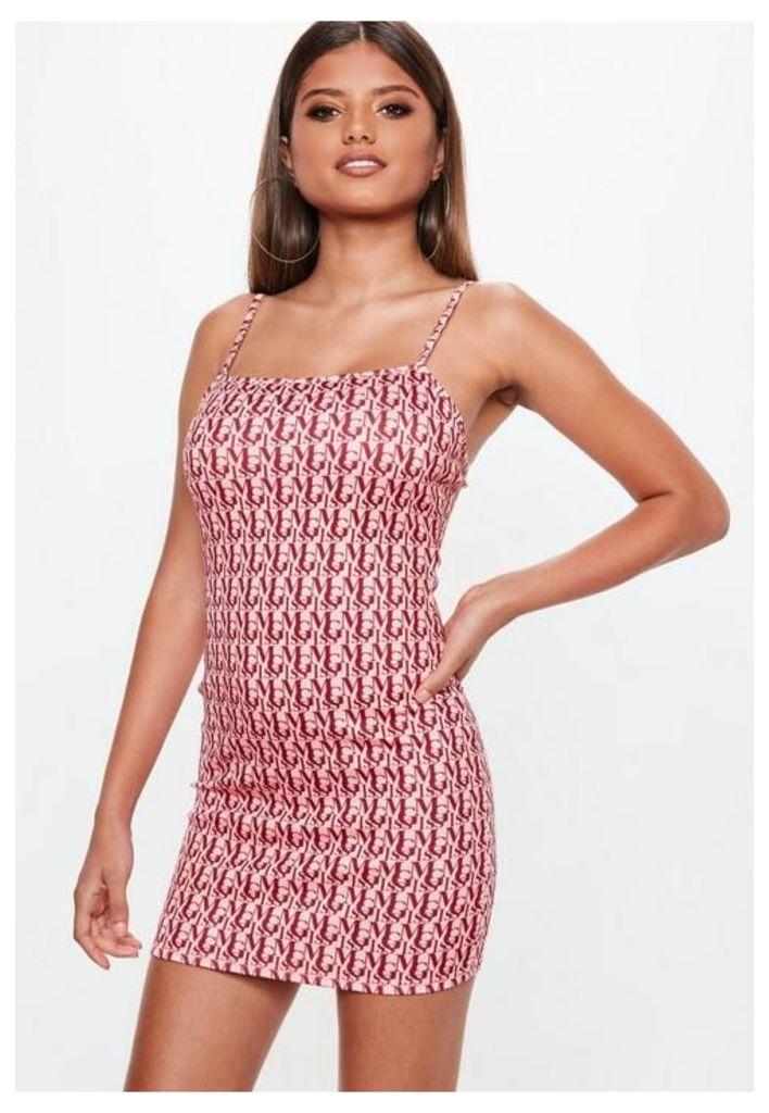 Pink Miss MG Print Strappy Bodycon Mini Dress, Pink