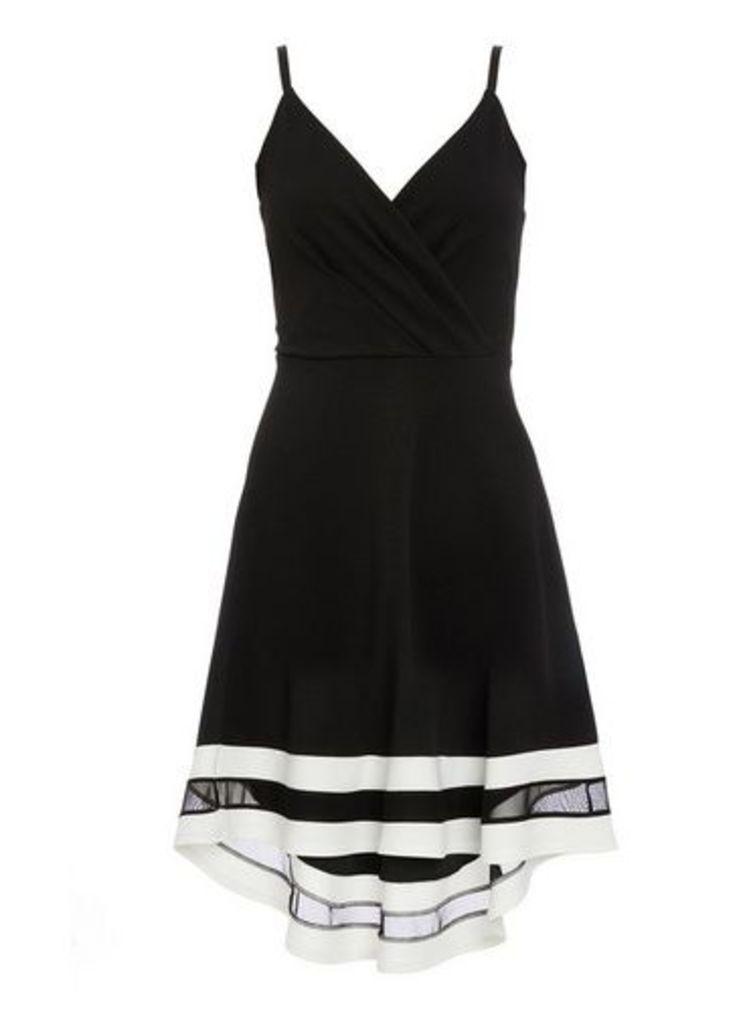Womens *Quiz Black and Cream Skater Dress- Black, Black