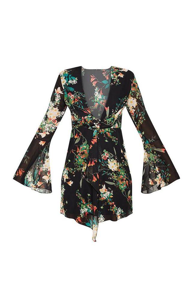Black Floral Print Knot Front Shift Dress, Black