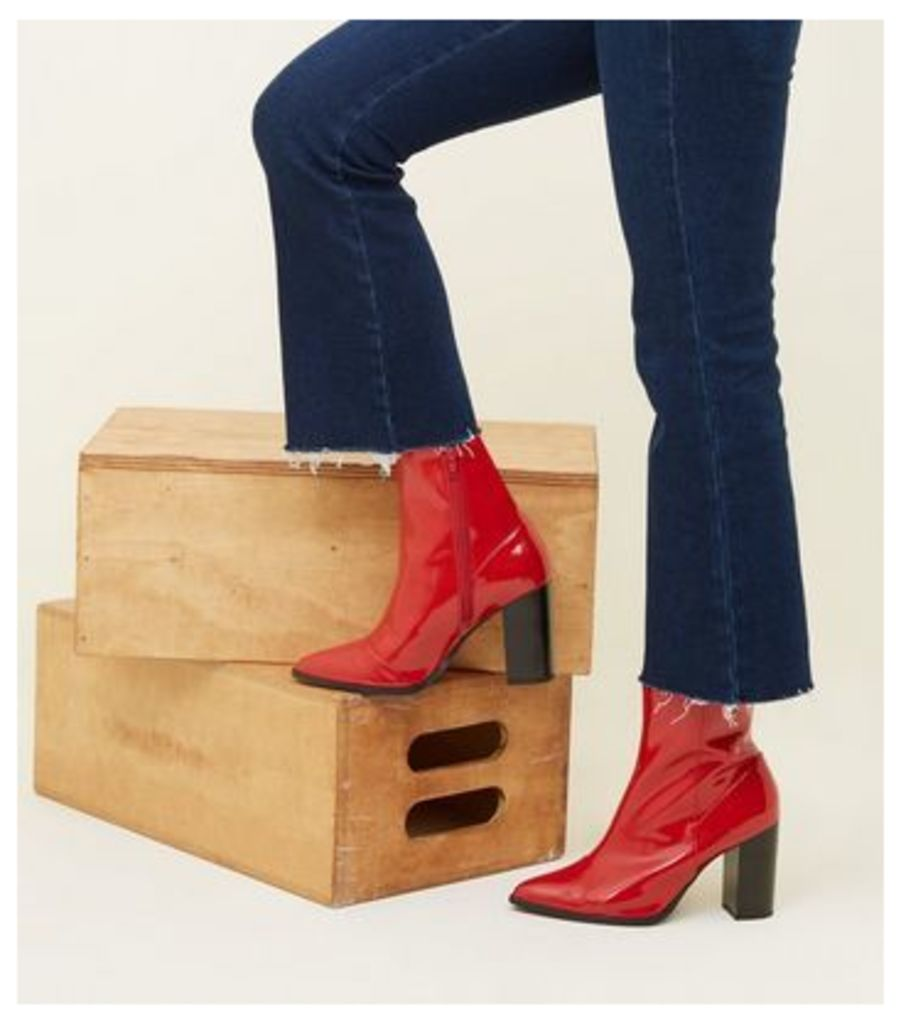 Wide Fit Red Patent Block Heel Boots New Look