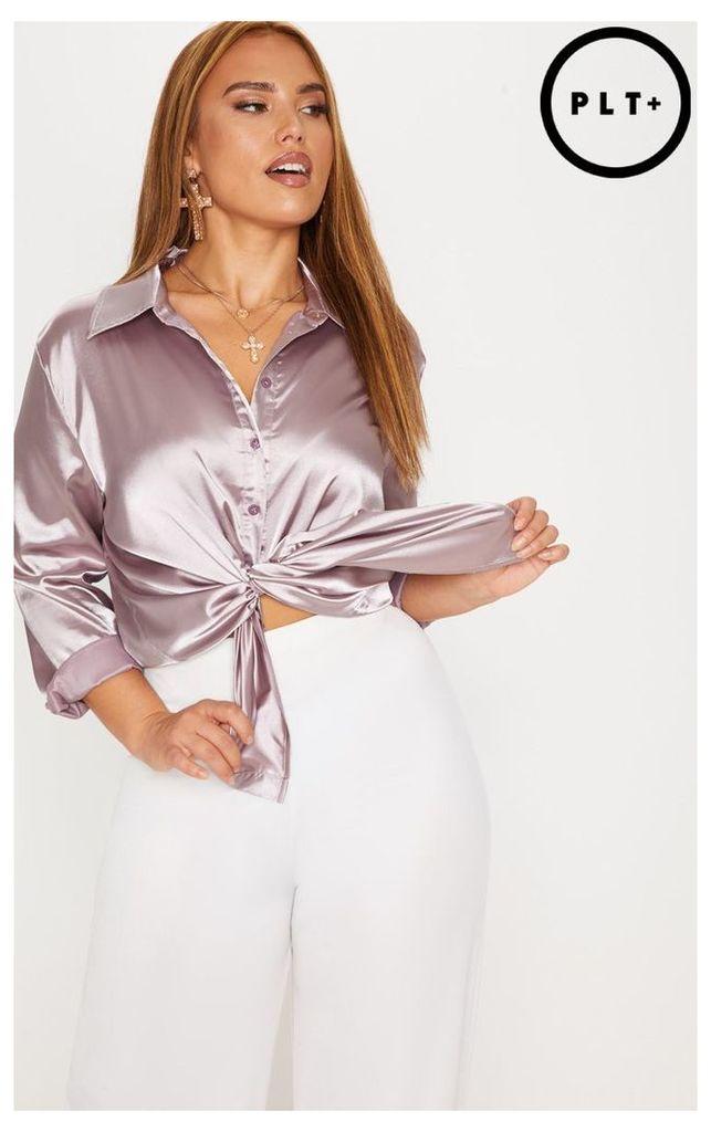 Plus Mink Satin Button Front Shirt
