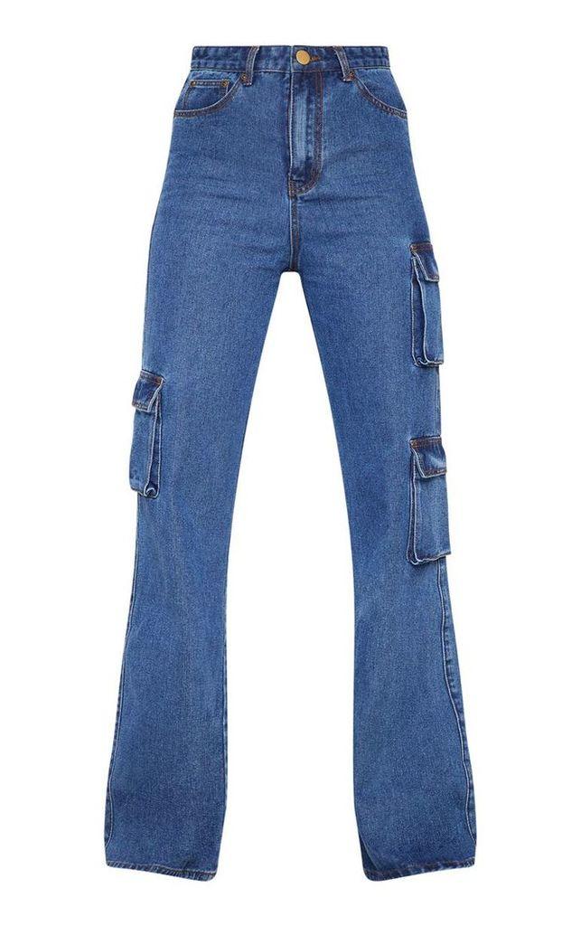 Dark Wash Wide Leg Cargo Pocket Jeans, Dark Blue Wash