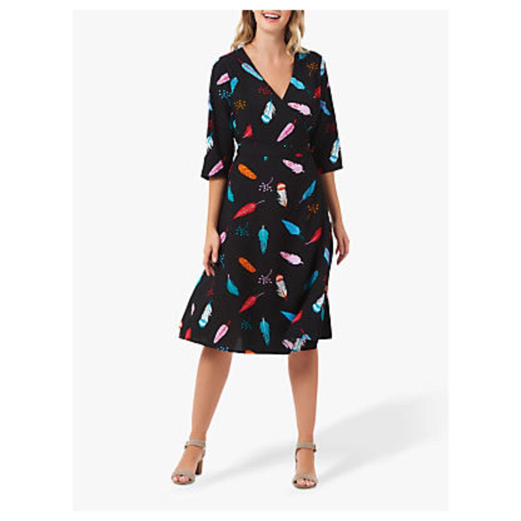 Sugarhill Brighton Aisha Feather Wrap Dress, Black/Multi