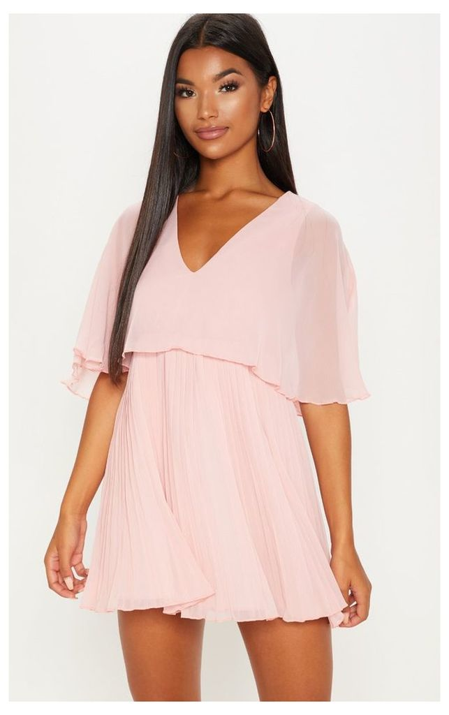 Dusty Pink Cape Pleated Detail Skater Dress
