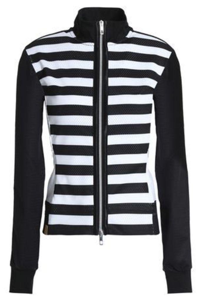 Monreal London Woman Striped Mesh Jacket Black Size M