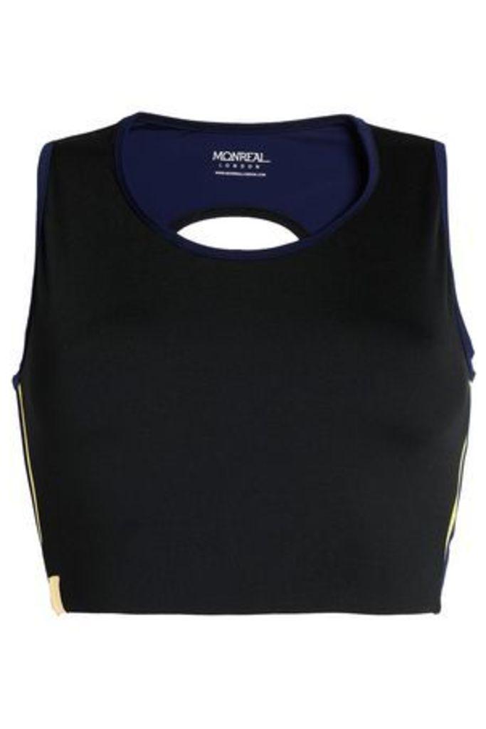 Monreal London Woman Cropped Cutout Stretch Top Black Size L