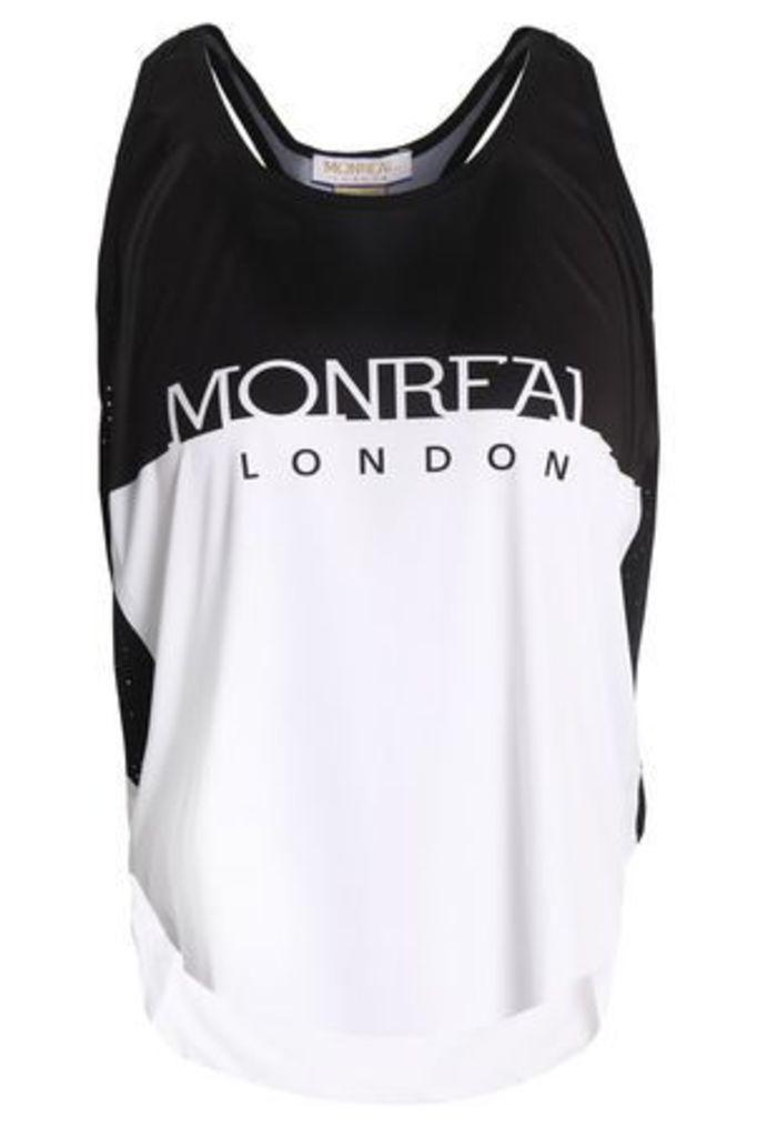 Monreal London Woman Mesh-trimmed Two-tone Stretch-jersey Tank White Size M