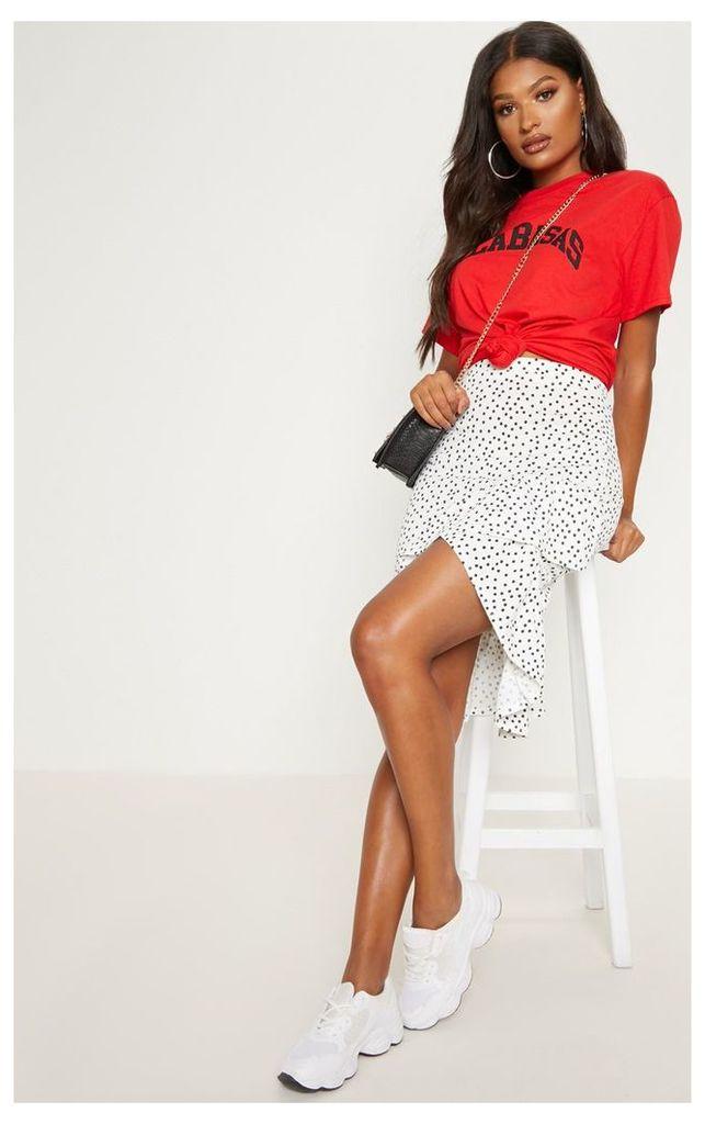 White Polka Dot Frill Midi Skirt