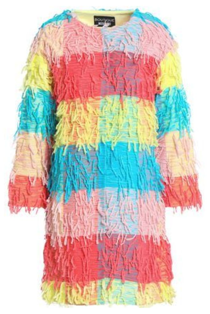 Boutique Moschino Woman Fringed Color-block Woven Jacket Multicolor Size 46