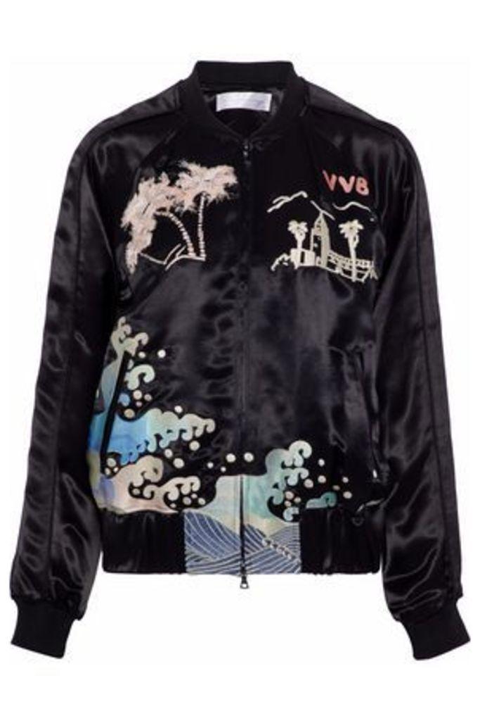 Victoria, Victoria Beckham Woman Embroidered Satin Bomber Jacket Black Size 12