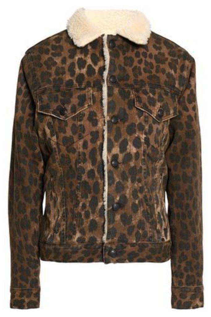 R13 Woman Faux Shearling-trimmed Leopard-print Denim Jacket Animal Print Size M