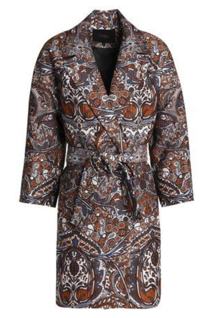 Maje Woman Belted Jacquard Jacket Brown Size 1