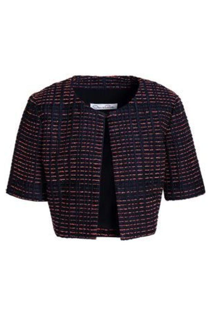 Oscar De La Renta Woman Cropped Silk-blend Jacquard Jacket Navy Size 2