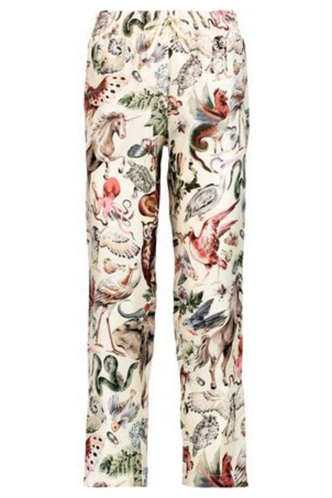 Valentino Woman Cropped Printed Silk-twill Relaxed-leg Pants Ecru Size M