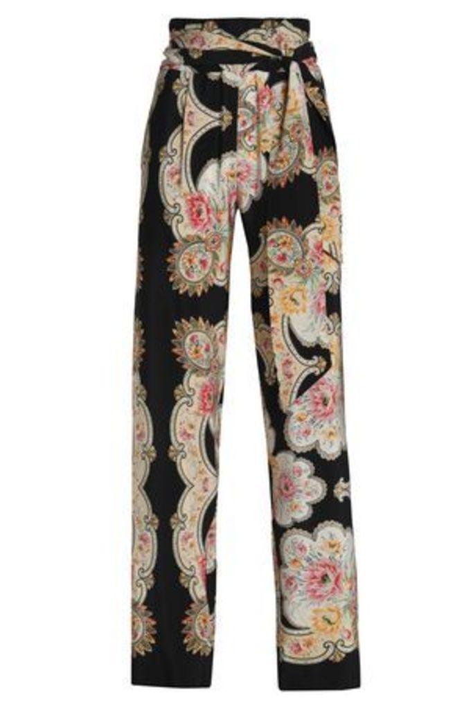 Vilshenko Woman Belted Printed Silk Wide-leg Pants Black Size 10