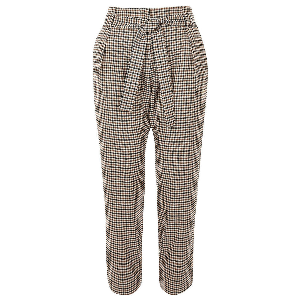 Womens Petite Brown checked tapered trousers