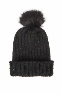 Quiz Black Jewel Trim Pom Knit Hat