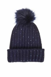 Quiz Navy Jewel Trim Pom Knit Hat