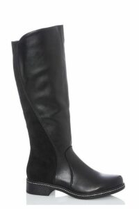 Quiz Black Stud Trim Knee Calf Boots