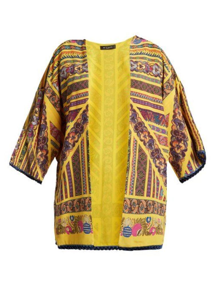 Etro - Multi Print Silk Jacket - Womens - Yellow