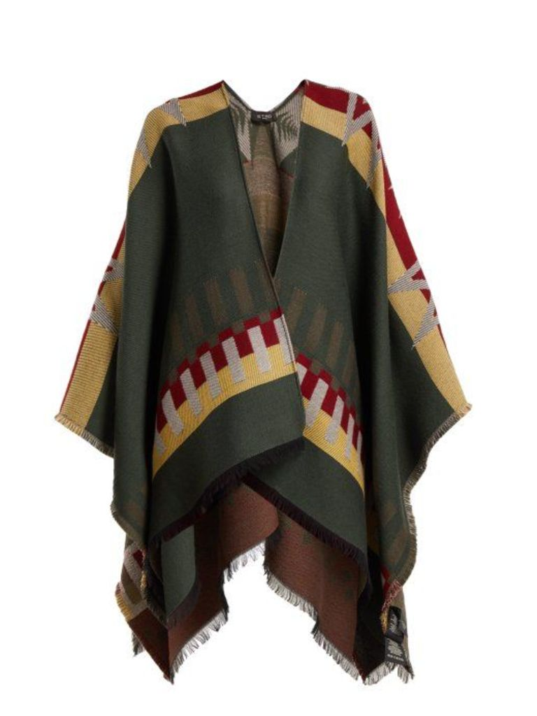 Etro - Stripe And Star Jacquard Wool Blend Cape - Womens - Green