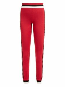 Fendi - High-rise Checked Wool Leggings - Womens - Red Multi