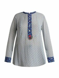 Figue - Milagro Paisley Print Silk-chiffon Shirt - Womens - Blue Multi