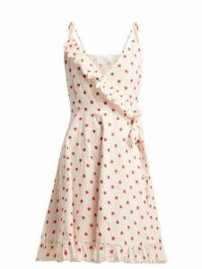 Athena Procopiou - Embroidered Cotton-blend Wrap Dress - Womens - Red Multi