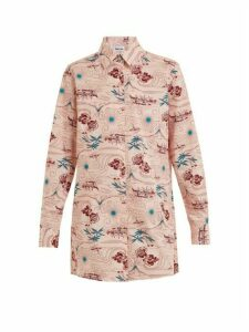 Thorsun - Georgie Polynesia-print Cotton Shirt - Womens - Pink Multi