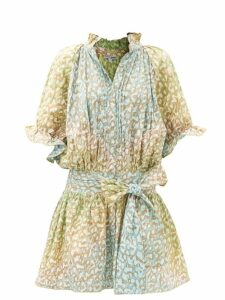 Figue - Maja Striped Pompom Hem Shorts - Womens - Blue Stripe