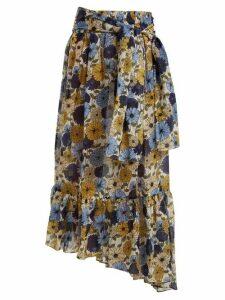 Lisa Marie Fernandez - Nicole Floral-print Asymmetric-hem Skirt - Womens - Cream Multi
